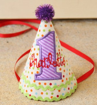 Colorful Dots & Stripes Girls First Birthday Party Hat-red, purple, green, aqua, colorful, 1st, first, party