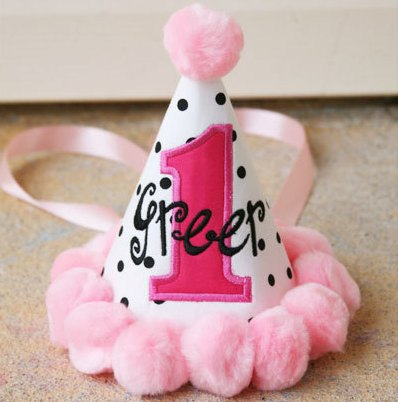 Darling Dots Girls First Birthday Party Hat-black, white, pink, first birthday, party, 1st, birthday