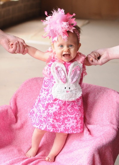 Pink Damask Chic Bunny Easter Dress-Damask, Easter, Shabby, Chenille, Chic, Bunny, pink and white, spring