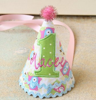 Pastel Owl Girls First Birthday Party Hat-Pink, purple, aqua, green, yellow, stripes, colorful, party, 1st