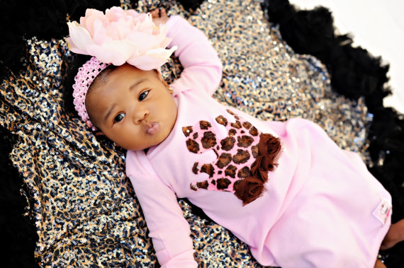 Pink Leopard Princess Newborn Feather Gown