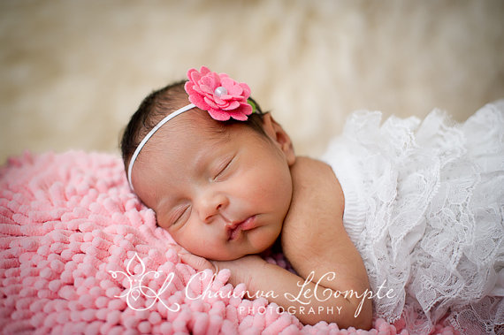 Hot Pink Felt Flower Headband-newborn