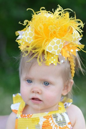 Sunshine Yellow Gold Over the Top Hair Bow Headband
