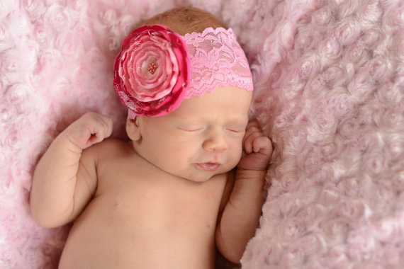 Pink Ruffled Lace Pearl Flower Headband-pink, hot pink,
