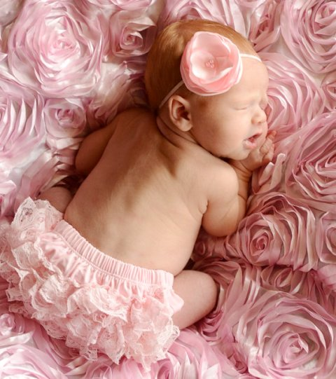 Light Pink Ruffled Flower with Pearls Headband-pink, lt. pink, newborn