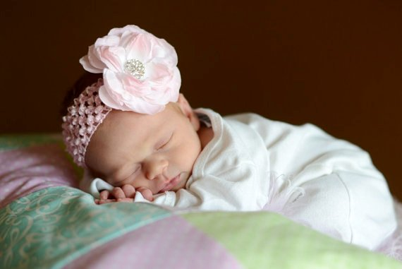 Light Pink Peony Rhinestone Flower Headband-lt. pink, pink, light pink, newborn, flower, bling