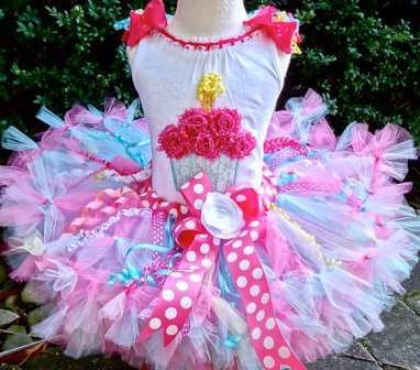 Cotton Candy Party Girl Birthday Tutu Set