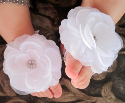 White Diamond Cluster Flower Barefoot Sandals-baby sandals, white, shoes, rhinestone, bling