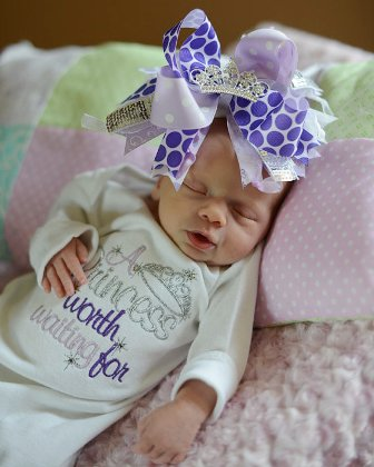 Princess Worth Waiting For Layette Gown-take me home, infant, newborn, sac, sack, gown, layette, purple, lavender, tiara, crown, princess