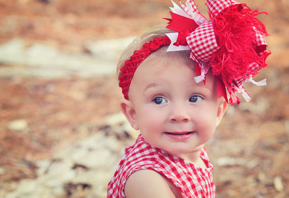 Red  & White Gingham Over the Top Hair Bow Headband