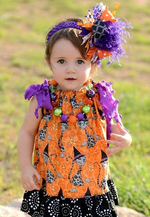 Witches Cats & Candy Corn Halloween Pillowcase Dress-orange, halloween, purple, cat, dress