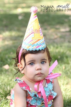 Sunny Stripes First Birthday Party Hat-yellow, aqua, pink, green, first, birthday, party, hat, 1st