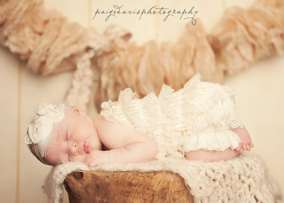 Cream Lace Petti Romper-infant, baby girl, newborn, boutique, ivory, off white, cream, ruffle, pettiromper