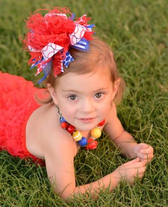 Red & Royal Baseball Over the Top Hair Bow Headband