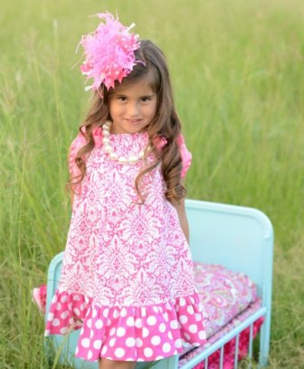 Hot Pink & White Damask Pillowcase Infant Dress-pink and white, dress, outfit, spring, easter, summer, boutique, infant, baby girl, toddler