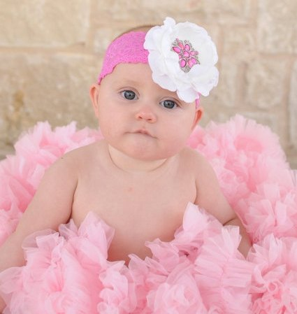 Hot Pink & White Ranuculus Rhinestone Bling Lace Flower Headband-hot pink and white, lace, infant, baby, girl