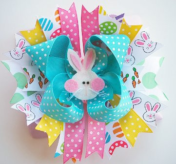 Bunny Hop Easter Over the Top Hair Bow-easter, bunny, rabbit, spring, colorful