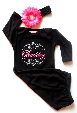 Posh Black & Pink Custom Monogram Take Me Home Newborn Gown & Headband Set-newborn, gown, sac, sack, outfit, set, infant, baby, girl