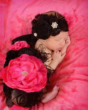 Shocking Pink & Black Flower Sash
