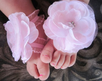 Soft Pink Diamond Cluster Flower Barefoot Sandals-princess, pink, shoes, newborn