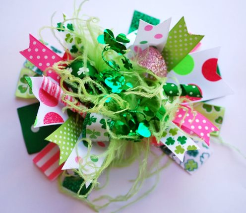 Funky Shamrock Over the Top Hair Bow-st, st., patricks, Patrick's, day, saint, pattys, patty's, clover, lucky, shamrock, hot pink, green