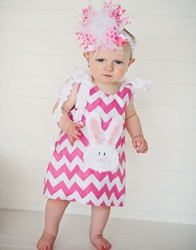 Hot Pink Chevron Chic Chenille Easter Bunny Dress-hot pink, white, rabbit, bunny, easter, dress, chevron, spring