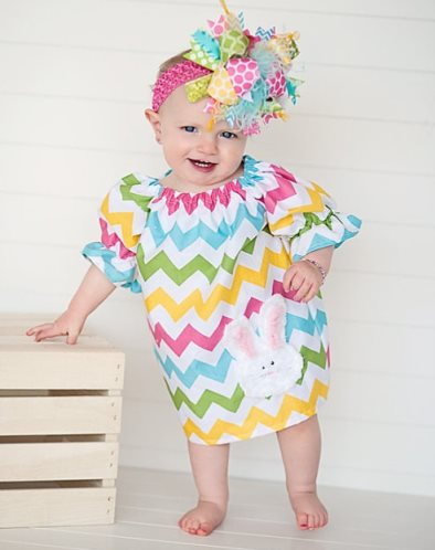 Chevron Chic Bunny Pheasant Dress-spring, easter, bunny, rabbit, dress, outfit, pink, yellow, blue, green, pastel