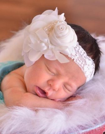 Cream Ivory Vintage Flower Lace Headband with Pearls-christening, wedding, baptism, cream, ivory, off white, headband, rose, sheer