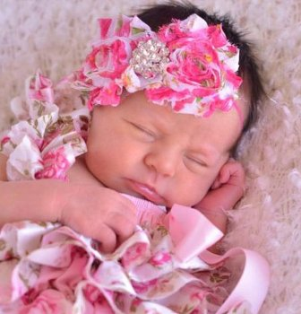 Vintage Floral Pink & Green Shabby Bling Flower Headband-pink and green, infant, baby girl, newborn, flower, headband