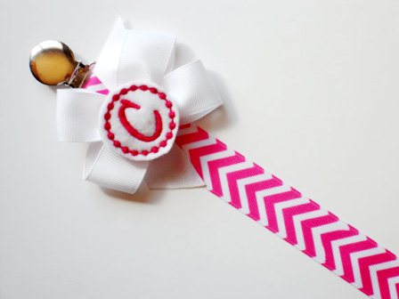 Hot Pink Chevron Monogram Pacifier Clip Holder-pici, clip, monogram, custom, baby girl
