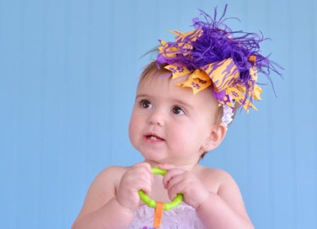 LSU Tigers Purple & Yellow Over the Top Hair Bow Headband