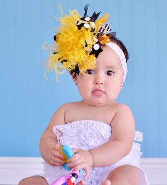 Gold & Black Over the Top Hair Bow Headband-pittsburg, steelers, sports, football, team, hairbow, bumble, bee