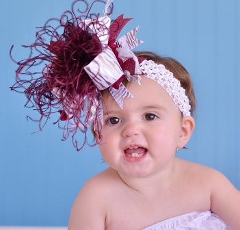 Texas A&M Over the Top Hair Bow Headband-aggies, football, Maroon, White, Silver, Zebra , sports, team, hairbow