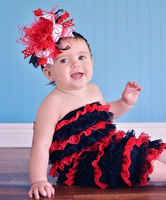 Baseball Red & Black Over the Top Hair Bow Headband