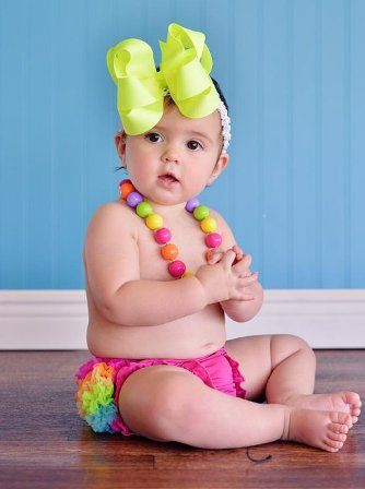 Solid Neon Yellow Double Layered Hair Bow Headband-neon
