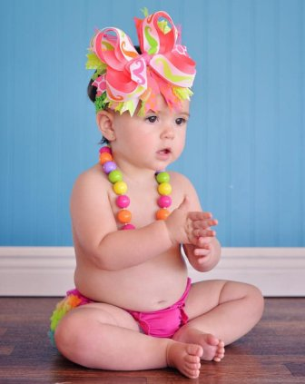 Neon Mustache Over the Top Hair Bow Headband