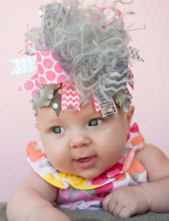 Grey & Neon Pink Over the Top Hair Bow Headband-chevron, pink, grey, gray, pink, hairbow