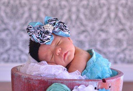 Turquoise & Zebra Rosette Chic Shabby Bow Swavorski Bling Headband-turquoise, zebra, rosette, bow, headband, baby, girl, boutique, infant