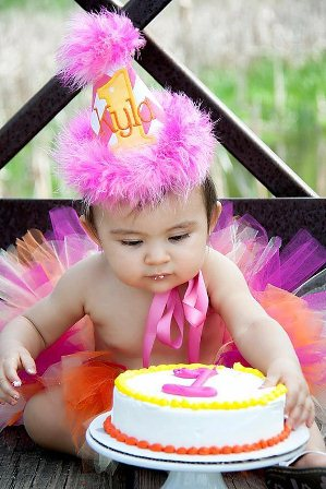 Baby Girls Birthday Hat Pink Chevron with Orange & Yellow-pink, orange, yellow, chevron, birthday, hat, first, 1st, party