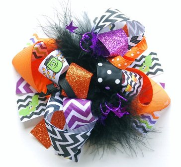 Spooky Spiders & Candy Corn Chevron Loopy Hair Bow-halloween, purple, orange, black, frankenstein, bats, chevron