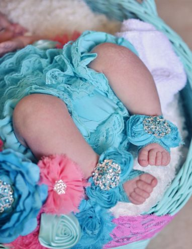 Turquoise Swarovski Bling Infant Barefoot Flower Sandals-rhinestone, bling, turquoise, blue, shoes, newborn, infant, baby, girl, boutique, sandals