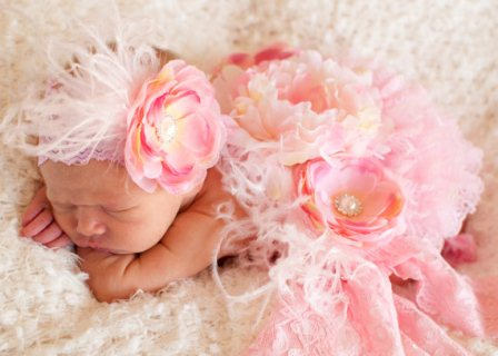 Light Pink & Cream Infant Vintage Flower Headband-baby, girl, newborn, flower, couture, pink, ivory