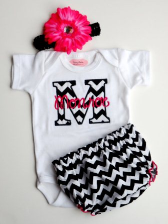 Black & Hot Pink Chevron Baby Girl 3pc. Infant Outfit Set-chevron, shocking, monogram, set, outfit, boutique, clothing, onesie, bloomer