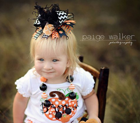 Black & Orange Chevron Halloween Over the Top Hair Bow Headband-halloween, orange, black