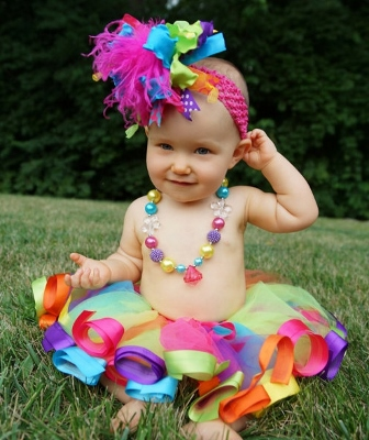 Rainbow Bright Colorful Over the Top Hair Bow Headband