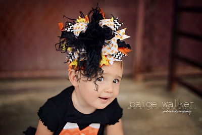 Halloween Candy Corn Over the Top Hair Bow Headband-Halloween, Candy Corn, Over The Top, Funky, Bow, Black, Orange,Yellow, hairbow, headband, party, chevron
