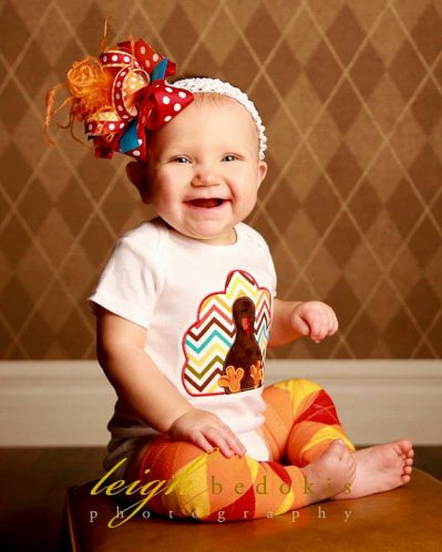 Baby Girl Chevron Thanksgiving Turkey Outfit Set-onesie, shirt, chevron, thanksgiving, holiday, turkey, colorful, fall, outfit, boutique, set, bow, leggings, leg watmers