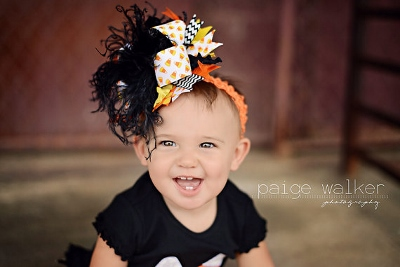 Halloween Candy Corn Over the Top Hair Bow Headband
