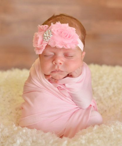 Shabby Rosette Bling Elastic Baby Headband-pink, newborn, infant, baby, girl, flower, head band,Beautiful, Chic