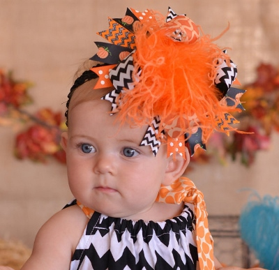 Chevron Pumpkin Halloween Over the Top Hair Bow Headband-orange and black, black, orange, halloween, pumpkin, pumpkins, bow, hairbow, headband, party, chevron